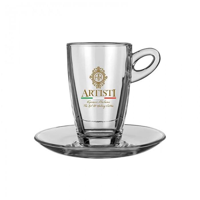 Γυάλινο ποτήρι Latte με πιατάκι