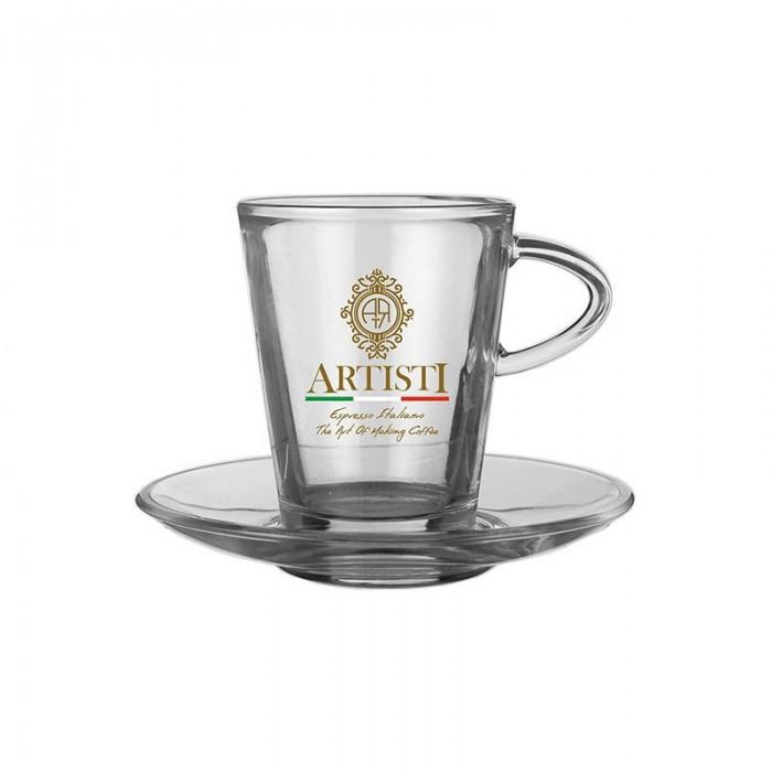 Γυάλινο ποτήρι Καπουτσίνο με πιατάκι