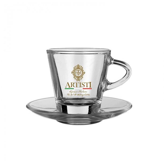 Γυάλινο ποτήρι με πιατάκι Espresso